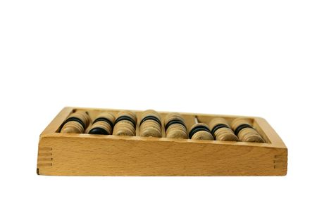 wooden abacus isolated on a white background photo