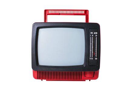 old analog TV set isolated on white background photo