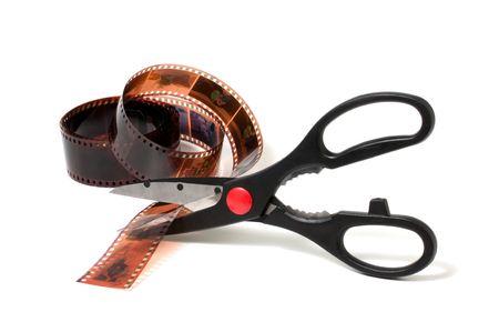Scissors cut film isolated on white background Stock Photo