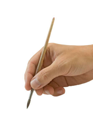 hand holds the brush to draw Stock Photo - 6561335