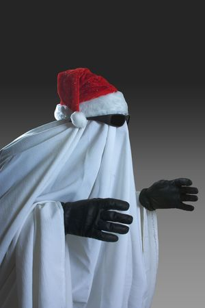 shroud: ghost in the image of Santa Claus Stock Photo