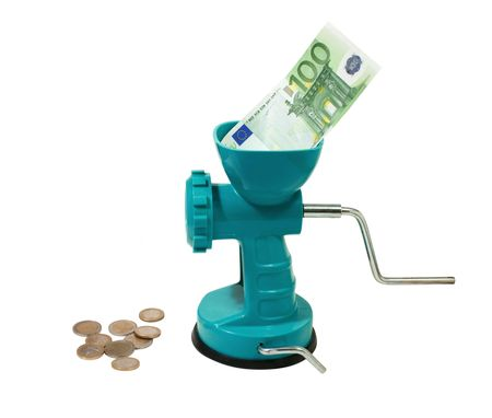 money in a meat grinder  isolated on white photo