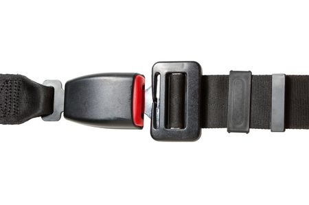 automobile safety belt isolated on a white background photo