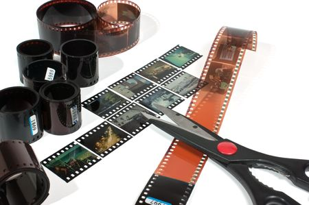 video editing of negative and positive film  isolated on white background