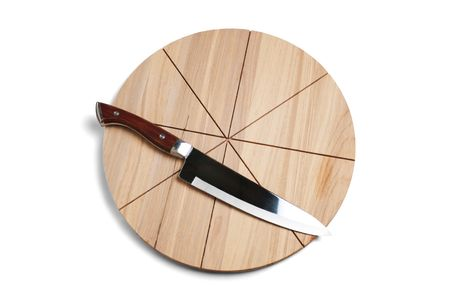 Pizza cutting board and knife isolated on a white background photo
