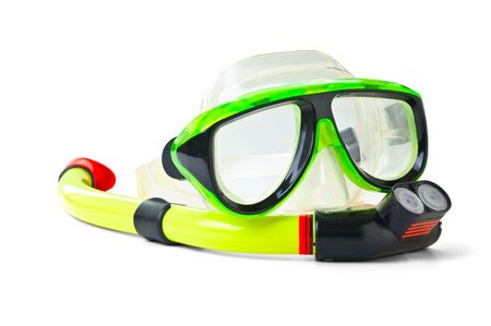 scuba goggles:  equipment for diving  isolated on a white background Stock Photo