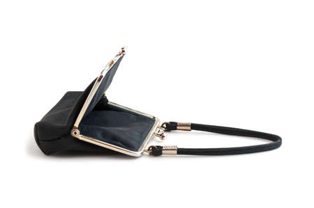 open purse classically isolated on a white background photo