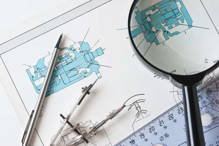 delineation: drawing tools in the workplace technologist Stock Photo