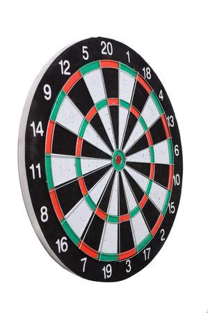 holed: playing darts isolated on white Stock Photo