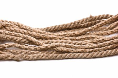hanf: Spule Hanf-Seil isoliert auf wei�em Hintergrund  Lizenzfreie Bilder