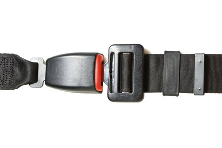 safety belt: automobile safety belt isolated on a white background Stock Photo