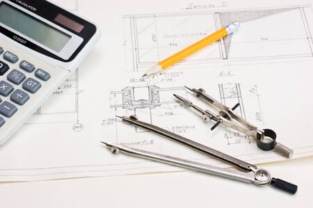 vernier: technical drawings and a calculator