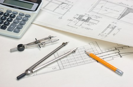 technical drawings and a calculator Stock Photo - 7242693