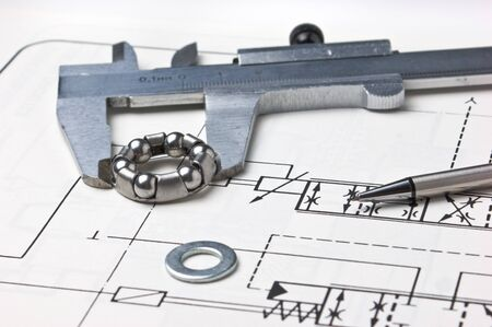 delineation: mechanical scheme and calipers with bearing Stock Photo
