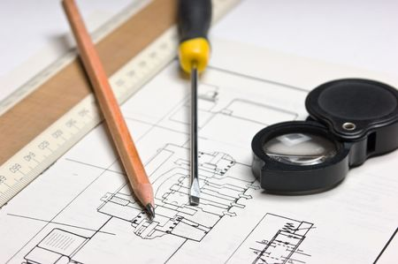 schemes: technical schemes with a pencil and ruler