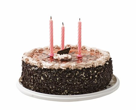 chocolate birthday cake: cake and three candles isolated on a white background