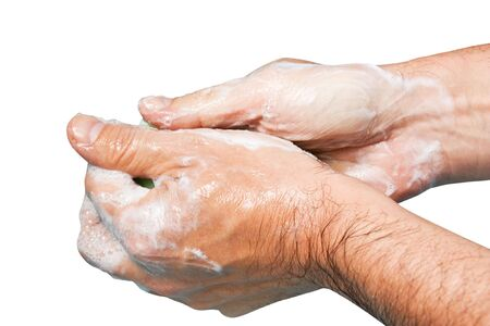 sudsy: sudsy hands isolated on a white background Stock Photo