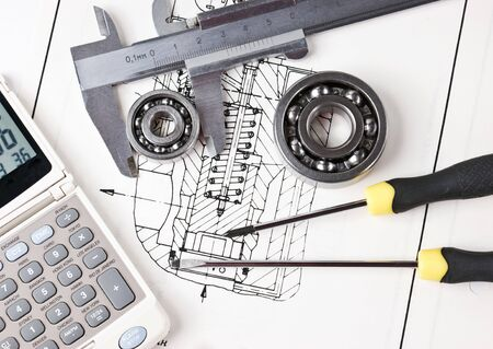 mechanical scheme and calipers with bearing Stock Photo