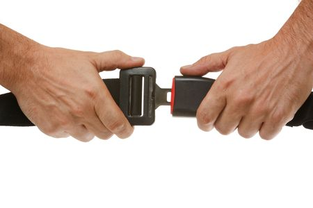 hands button safety belt  isolated on a white background Stock Photo - 7541674