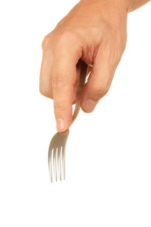 fork in hand  isolated on a white  background photo