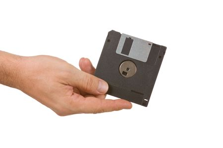 solated: ifloppy disk in hand  isolated  solated on white background Stock Photo