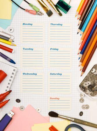 school agenda: programación de la escuela en blanco de la semana