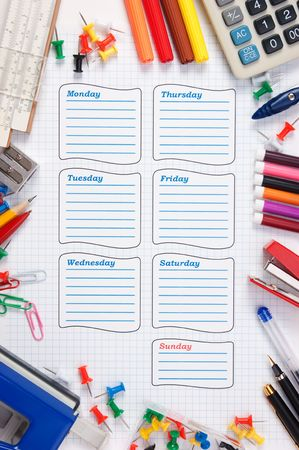 blank school schedule for the week Stock Photo - 7938281