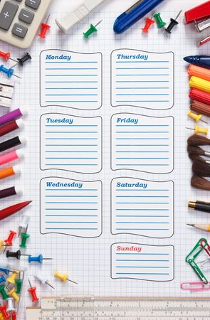 blank school schedule for the week stock photo picture and royalty