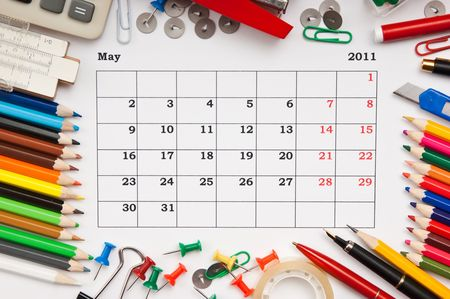a monthly calendar May 2011. Series photo