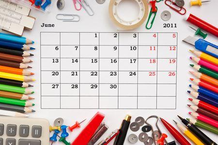a monthly calendar  June 2011. Series photo