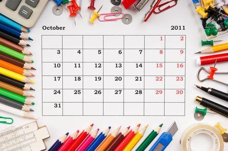 a monthly calendar October 2011. Series photo