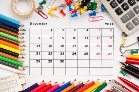 a monthly calendar November 2011. Series photo