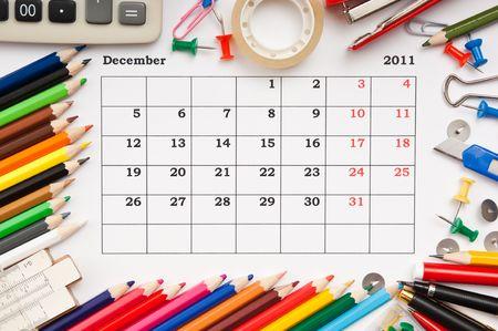 a monthly calendar December 2011. Series photo
