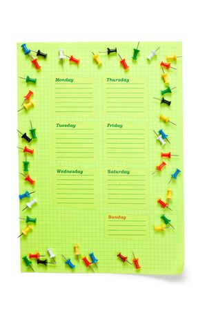 school schedule: blank school schedule for the week  isolated on a white background