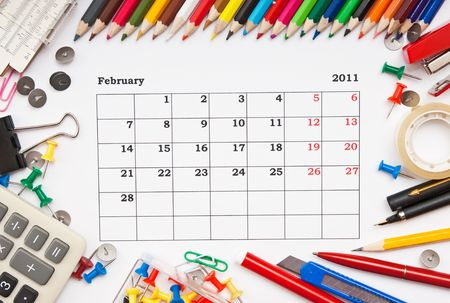 a monthly calendar February 2011. Series photo