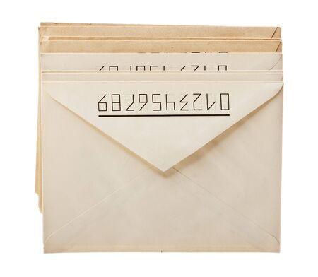 stack of mail envelopes isolated on white background photo
