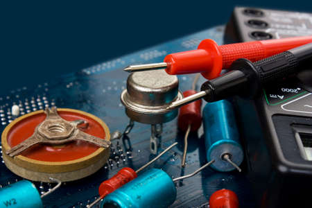 old electronic components and printed circuit board photo