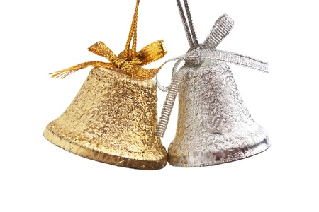 silver bells: Christmas gold and silver bells isolated on a white  background