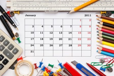 a monthly calendar January 2011. Series photo