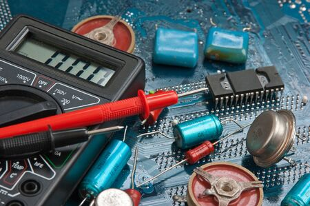 delineation: old electronic components on printed circuit board