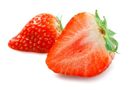 bacca: strawberries cut isolated on white background