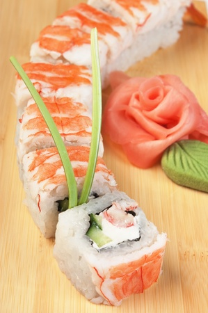 Asian food sushi on wooden plate photo