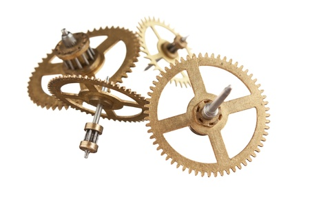 clockwork gears isolated on white background photo
