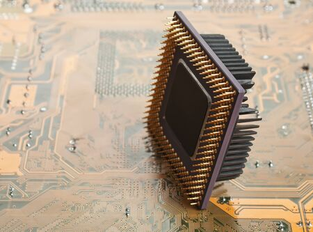 old silicon chip on the electronic board