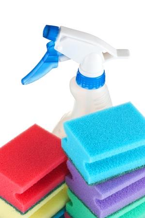 Various sponges isolated on white background photo