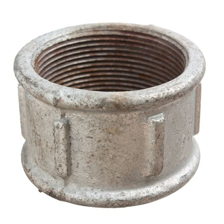 Pipe coupling isolated on a white  background photo