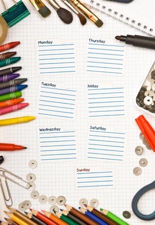 calendario escolar: programaci�n de la semana Foto de archivo