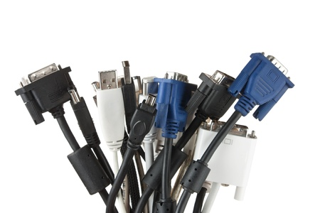 bunch of computer cables with sockets  isolated on a white  background  photo