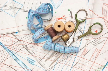 still life various sewing accessories in the scheme photo