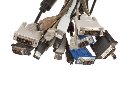 bunch of computer cables with sockets  isolated on a white  background Stock Photo - 8856295